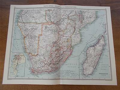 Antique c1904 Colour Map of SOUTH AFRICA INDUSTRIES & COMMUNICATIONS HARMSWORTH