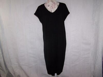 Eileen Fisher Large Tee Shirt Dress Stretch Midi Black Pullover Womens
