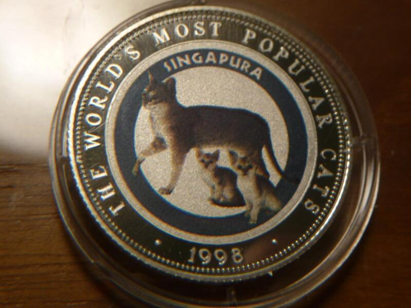 1998 Somalia Most Popular Cats 250 Shillings Singapura Silver Proof..SKU#13906