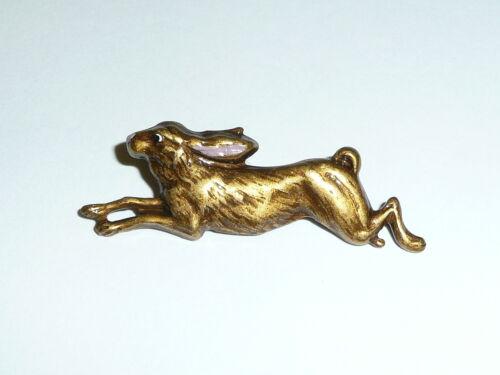 "Cute Running Brown Bunny Rabbit Metal Shank Button 1-5/8"" x 1/2""  Pink Ears"