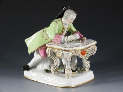 Antique Meissen Porcelain Man Writing At His Desk