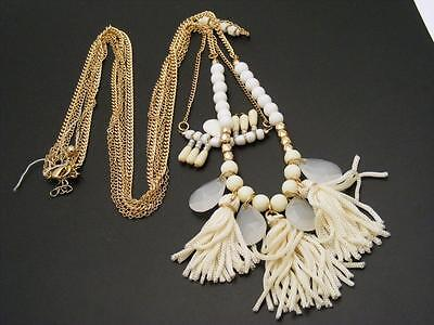 "$20 Nordstrom Stone Tassel White Beaded Layering Necklace Goldtone 30"" Long"