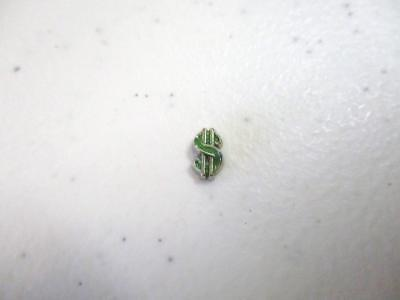 Green Dollar Sign (Green & Silver Tone Dollar Sign Money Floating Charm for Memory)