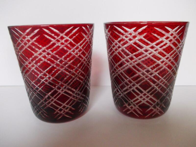 1288 / GOOD SIZED PAIR OF HAND BLOWN HAND CUT BOHEMIAN GLASS WHISKY TUMBLERS