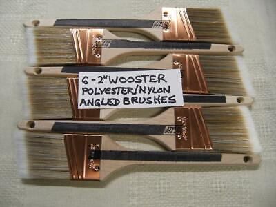 "Lot of 6 Wooster 2-1/2""  Nylon/Polyester Angled Sash Brushes Best $$ No"
