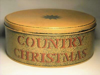 """Vintage """"COUNTRY CHRISTMAS"""" Tin with Lid - great condition"""