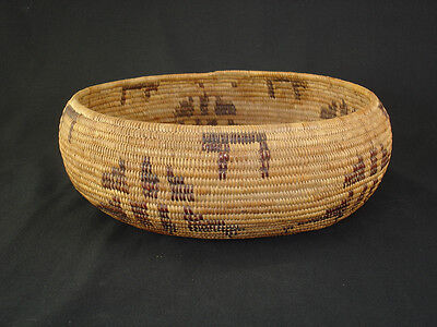 A Yokuts polychrome bowl basket, Native American Indian basket, circa: 1920