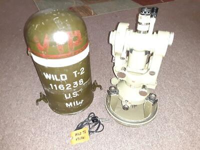 Wild Heerbrugg T2 Theodolite Us Army 1962 Mils Auto- Collimation Telescope