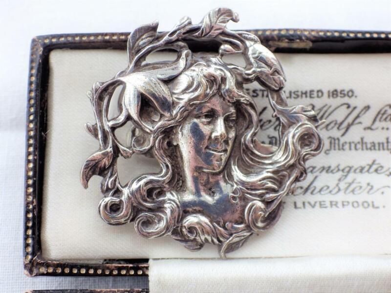 Vintage Antique Style Art Nouveau Lady Brooch Pin