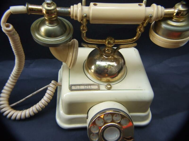 Antique Style Brass & Cream Color Telephone Made in Japan  in Working Order VGC