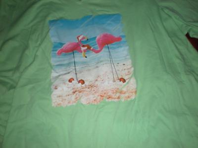 GREEN CHRISTMAS SUN BAY PINK FLAMINGO BEACHSIDE SANTA HATS SHIRT TOP 1X 2X 3X