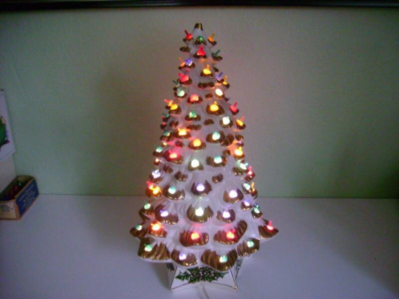 "VTG 21"" HOLLAND MOLD LIGHTED WHITE GOLD SNOW CERAMIC MUSICAL CHRISTMAS TREE"