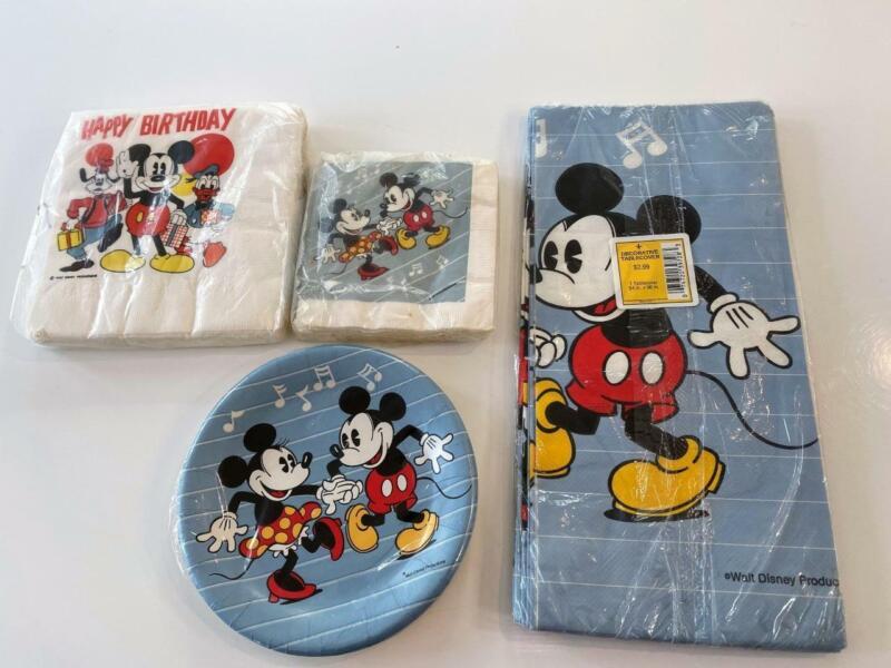 Disney Vtg Mickey Mouse Paper Party Lot 4 NIP Tablecloth Napkins Plates Birthday