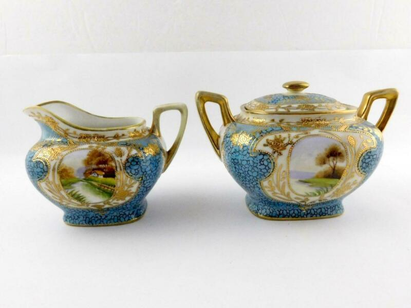 Morimura Bros Nippon Porcelain Creamer Sugar Set Blue Gold Landscape Japan GOOD