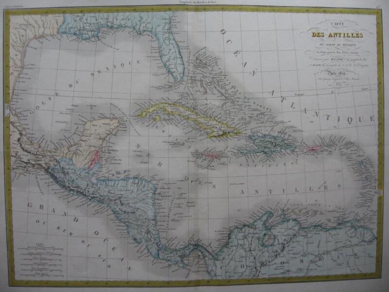 1829 LAPIE & 1846 DUVOTENAY - 2 Maps WEST INDIES  GULF OF MEXICO  FLORIDA