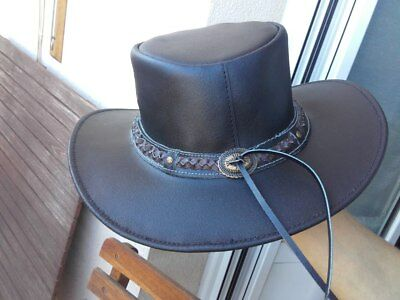 NEW Brown Genuine LEATHER Outback Western Cowboy Hat Brown