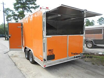 New 8.5x16 8.5 X 16 Enclosed Concession Food Vending Bbq Trailer - New 2019