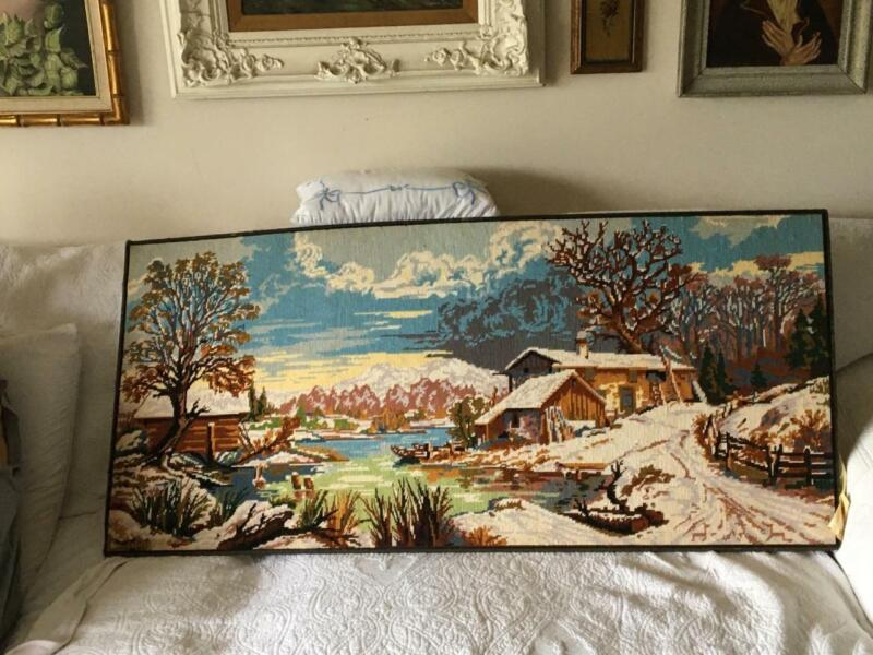 VTG LARGE COMPLETED FRENCH MARGOT PARIS WINTER LANDSCAPE NEEDLEPOINT TAPESTRY