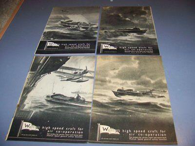 VINTAGE..4 PC) 1941 WALTON YACHT WORKS LTD...1-PAGE SALES ADS...RARE! (23S)