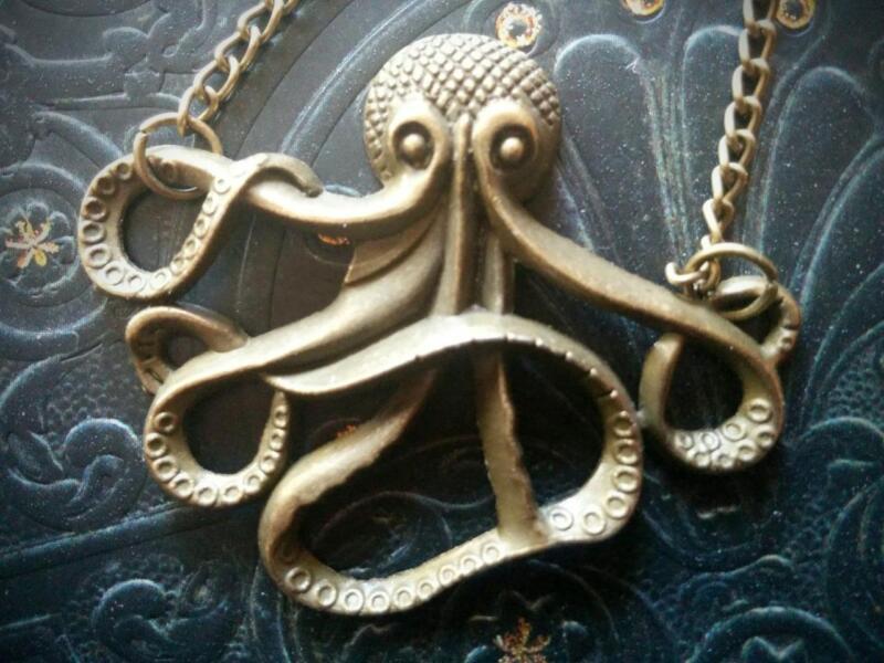 Antique Brass Nautical Steampunk Pirate Octopus Kraken Necklace Vintage