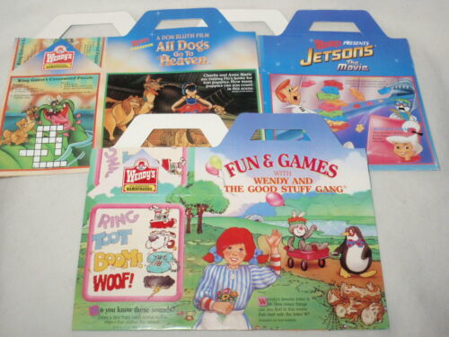 Lot 3 Wendy's Kids Meal Boxes ONLY: Jetsons, All Dogs Go to Heaven, Wendy