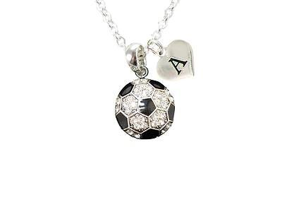 Custom Crystal Soccer Ball Silver Chain Necklace Choose Initial Charm All 26 (Customized Soccer Balls)