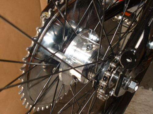 80cc  MOTORIZED BICYCLE  REAR WHEEL PART MAKES THE ENGINE KIT BETTER BIG TIME!!
