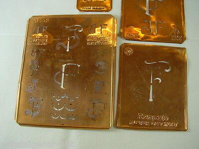 4 x JF alte Merkenthaler Monogramme, Kupfer Schablonen, Stencils, Patrons broder