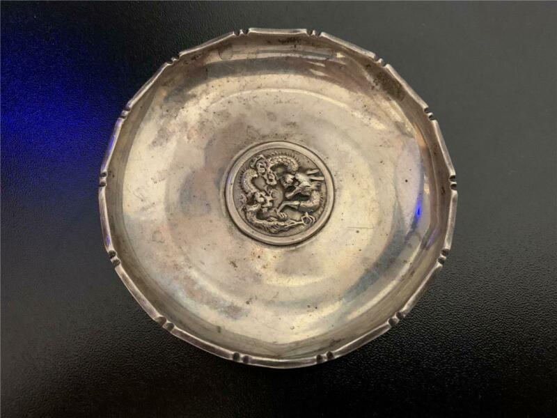 Vintage Sterling Silver Chinese Dragon Round Ash Tray