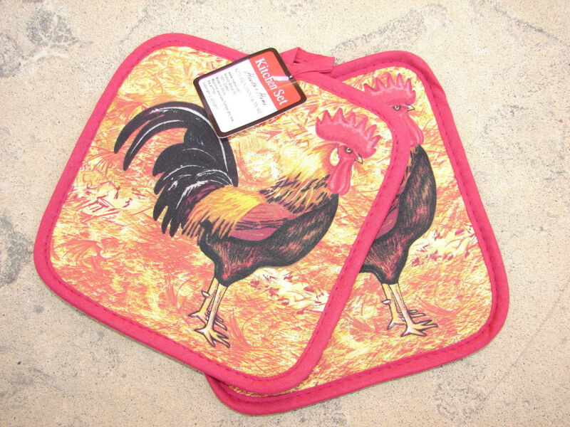 NEW! Set 2 Rooster Pattern Potholders 100% Cotton Quilted Pot Holder Pair 7""