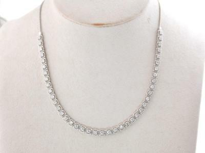 14K Oro Blanco 4.25CT Collar de Diamantes Bolo Estilo Longitud Ajustable Collar