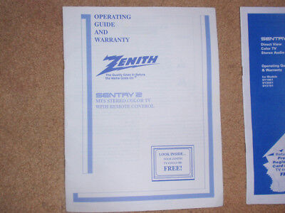 Direct View Tv (Zenith color TV manuals (2): Sentry 2 MTS 1991/ Sentry 2 Direct View SY1951 )