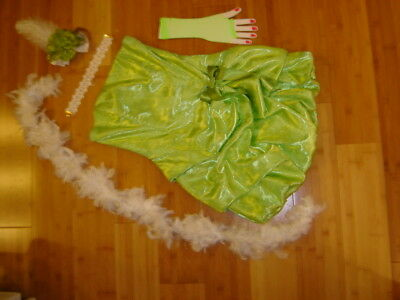 Ringmaster circus performer costume womens S green dress boa Mardi Gras - Circus Performer Costume