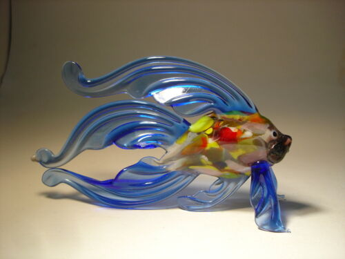 "Blown Glass Figurine ""Murano"" Art Blue Betta FISH with Speckled Body"
