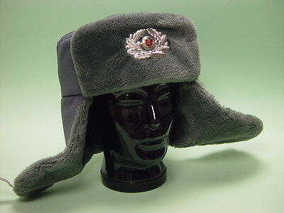 MdI Wintermütze Pelzmütze Offizier grau, ungetragen, Volkspolizei NVA, Größe 55