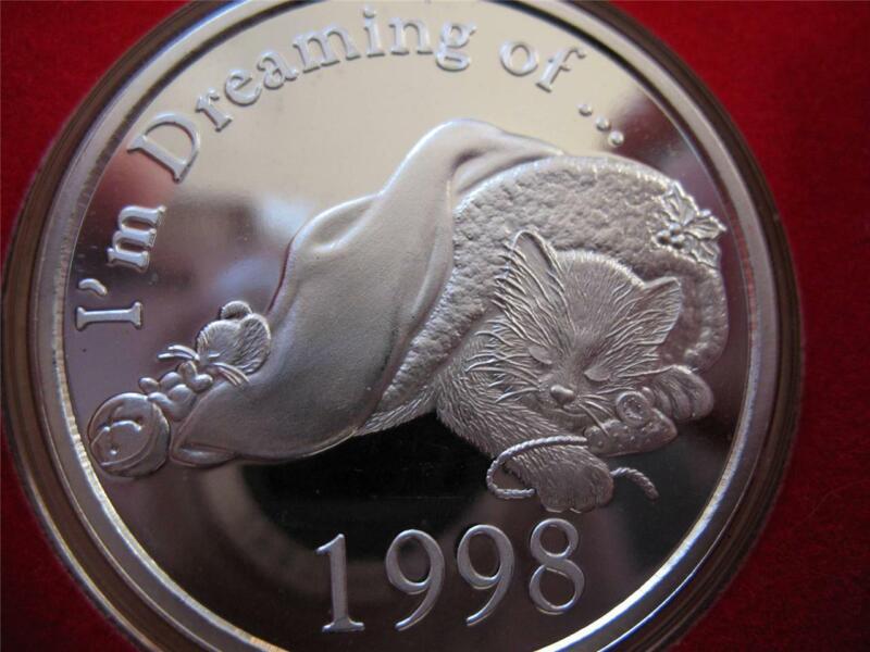 1-OZ CUTE RARE 1998 KITTEN & MOUSE CHRISTMAS ENGRAVABLE.999 SILVER COIN + GOLD