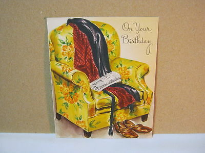 On Your Birthday Vintage Card with Yellow Chair Newspaper Robe  No Writing  T*