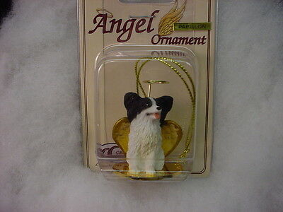 PAPILLON dog ANGEL Ornament HANDPAINTED Figurine NEW Christmas black white puppy