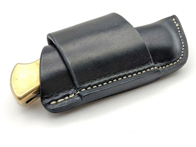 USA made Black Side Draw Harness Leather Knife Belt Sheath For Buck 110 Folder