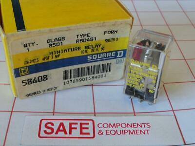Square D Relay 8501 RSD4S1 Sers B 24VDC 3A 4PDT with LED Plug-In/Solder L36-2