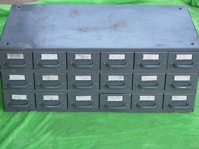 Vintage Equipto Metal Cabinet 18 Drawer Steel Part Hardware Storage Bin Organize