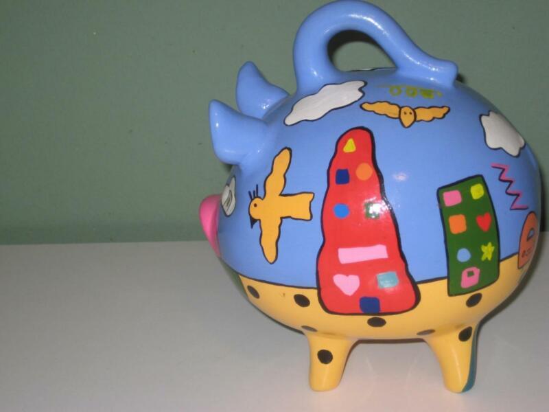 Large Piggy Bank Mexican Talavera Ceramic Folk Art Hand Painted Blue, Yellow
