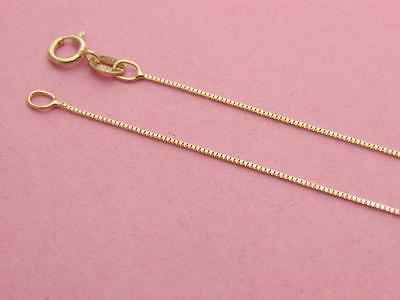Solid 14K Yellow Gold Box Chain Necklace 0 65Mm  Real Gold   Wholesale Prices