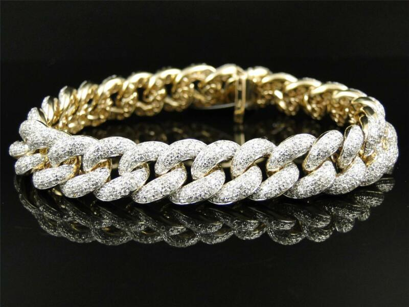 Solid Yellow Gold Miami Cuban Genuine 12 Mm Diamond Bracelet Bangle 12.5 Ct