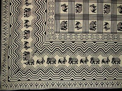 """African Print Tapestry Cotton Bedspread 108"""" x 88"""" Full-Queen Black"""