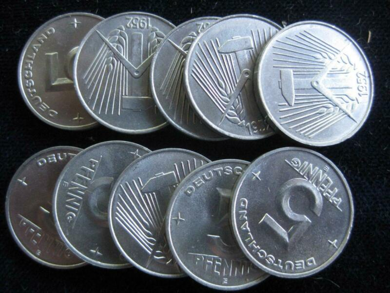 East Germany DDR 1952 E 5 pfennig BU lot of 10 BU coins