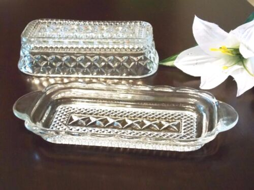 Glass Vintage Anchor Hocking Wexford butter Dish with Lid