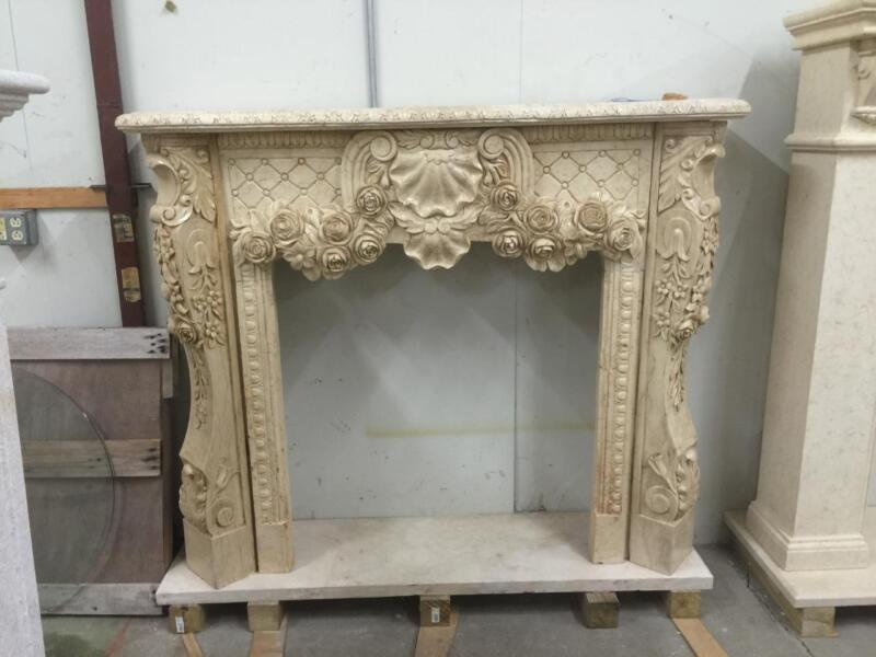BEAUTIFUL HAND CARVED SOLID MARBLE FIREPLACE MANTEL  - JD808