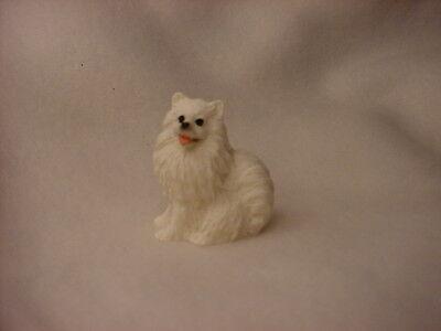 MIN AMERICAN ESKIMO puppy TiNY Dog HAND PAINTED MINIATURE FIGURINE Mini Statue