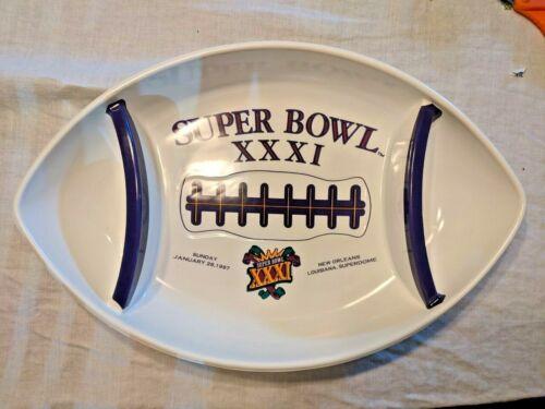 Super Bowl XXXI NFL Football Plastic Snack Tray Bowl, Packers vs Patriots